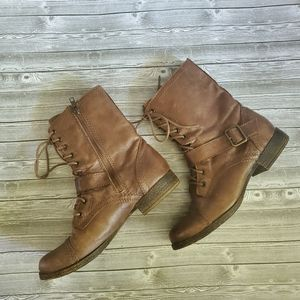 Nine West Helsey Leather Moto Boots
